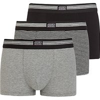 Jockey Stretch Cotton Trunks, Pack of 3, Black/Grey