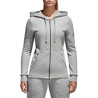 Adidas Essentials Solid Full Zip Training Hoodie, Grey Heather