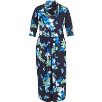 Chesca Abstract Floral Print Dress, Cobalt