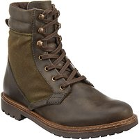 John Lewis Wax Canvas Boots, Olive