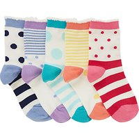 John Lewis Girls Bold Floral Socks, Pack of 5, Assorted
