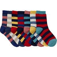 John Lewis Childrens Rugby Stripe Socks, Pack of 7, Red/Multi