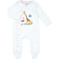 John Lewis Baby Giraffe Wildlife Jersey Cotton Sleepsuit, Blue/White