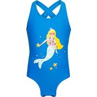 John Lewis Girls Mermaid Splash Swimsuit, Royal Blue