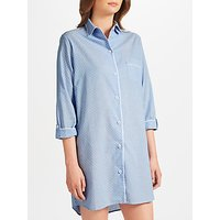 John Lewis Pin Spot Chambray Nightshirt, Blue/Ivory