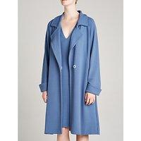 Winser London Jersey A-Line Coat, Blue Slate