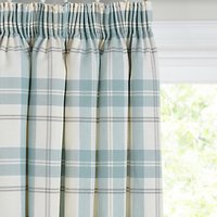 John Lewis Burghley Check Lined Pencil Pleat Curtains, Duck Egg