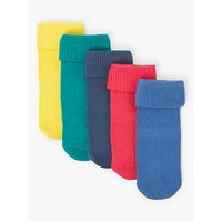 John Lewis & Partners Baby Cotton Rich Roll Top Socks, Pack of 5, Multi