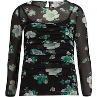 Gina Bacconi Floral Chiffon Pleated Top, Black/Green