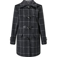 Four Seasons Check Duffle Coat, Charcoal/Black