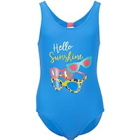 John Lewis Girls Sunglasses Print Swimsuit, Blue