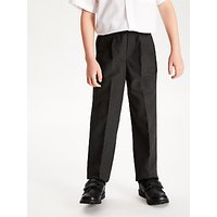 John Lewis and Partners Boys Easy Care Adjustable Waist Tailored Fit School Trousers, Regular Length, Grey