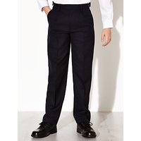 John Lewis and Partners Boys Easy Care Adjustable Waist Tailored Fit School Trousers, Regular Length, Navy