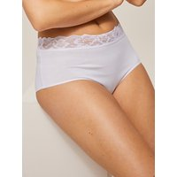 John Lewis & Partners 3 Pack Lace Trim Full Briefs, White