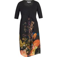 Chesca Tulip Chiffon Dress, Black/Orange