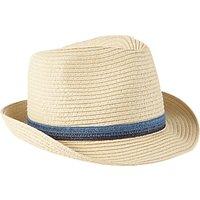 John Lewis Childrens Straw Trilby Hat, Cream