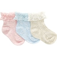 John Lewis Baby Cable Knit Socks, Pack of 3, Multi