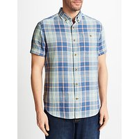 John Lewis Double Face Check Short Sleeve Shirt, Blue