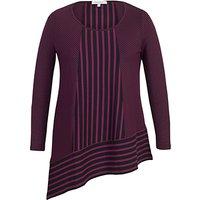 Chesca Double Stripe Print Tunic Top, Aubergine/Black