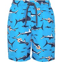 John Lewis Boys' Shark Print Board Shorts, Blue