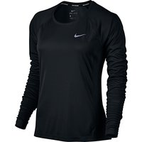 Nike Dry Miler Long Sleeve Running T-Shirt, Black