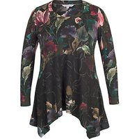 Chesca Floral Border Print Jersey Tunic Top, Black/Multi