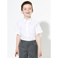 John Lewis & Partners The Basics Boys' Short Sleeve Basic School Shirt, Pack of 2, White