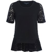 French Connection Fast Flora Jersey Lace Top, Black