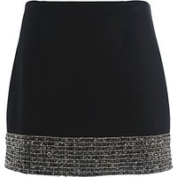 French Connection Crystal Shot Mini Skirt, Black/Silver
