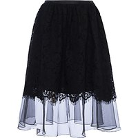 French Connection Spotlight Lace Flared Skirt, Black