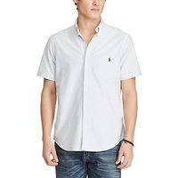 Polo Ralph Lauren Standard Fit Short Sleeve Striped Oxford Shirt, Blue/White