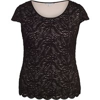 Chesca Scallop Trim Lace Top, Black