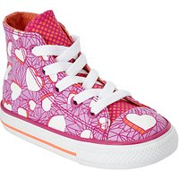 Converse Childrens Hi Top Valentine Heart Shoes, Pink/Multi