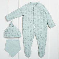 The Little Green Sheep Baby Wild Cotton Rabbit Sleepsuit Gift Set, Mint