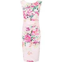 Jolie Moi Floral Printed Ruched Shift Dress, Light Pink