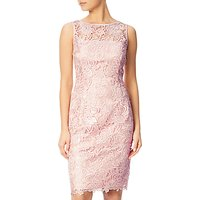Adrianna Papell Sequin Guipure Lace Sheath Dress, Blush