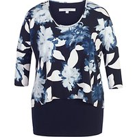 Chesca Floral Print Layered Jersey Tunic Top, Navy