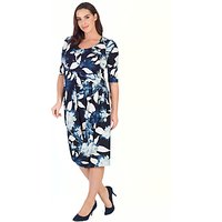 Chesca Floral Print Jersey Dress, Navy