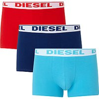 Diesel Stretch Cotton Plain Trunks, Pack of 3, Red/Navy/Blue