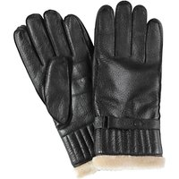 Barbour Leather With Faux Fur Gloves, Black