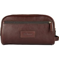 Barbour Leather Wash Bag, Dark Brown