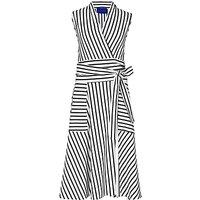 Winser London Striped Wrap Dress, Ivory/Midnight Navy
