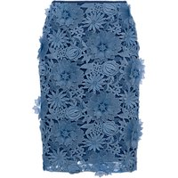 French Connection Manzoni Lace Pencil Skirt, Meru Blue