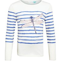 John Lewis Girls Sparkly Dragonfly T-Shirt, Off White/Blue