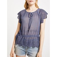 AND/OR Steph Broderie Top, Mid Blue