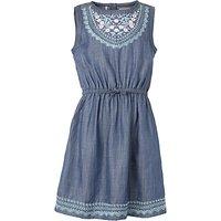 Fat Face Girls Embroidered Denim Dress, Blue