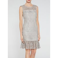 Gina Bacconi Antique Foiled Lace Panelled Embroidery Dress, Taupe