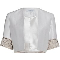 Gina Bacconi Crepe Chine And Antique Foiled Lace Jacket, Taupe