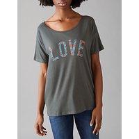 Selfish Mother Love Original T-Shirt, Grey/Red & Blue Floral