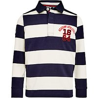 John Lewis Boys Bar Stripe Rugby Top, Navy/White